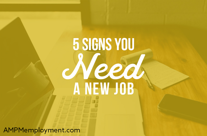5 Signs You Need a New Job - the image shows a work desk with a laptop