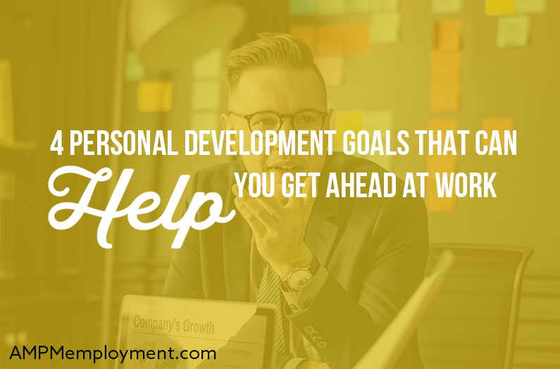 4 Personal Development Goals That Can Help You Get Ahead at Work - the image shows a person with glasses in the office